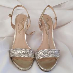 Nina strappy silver sparkly 3 inch heels